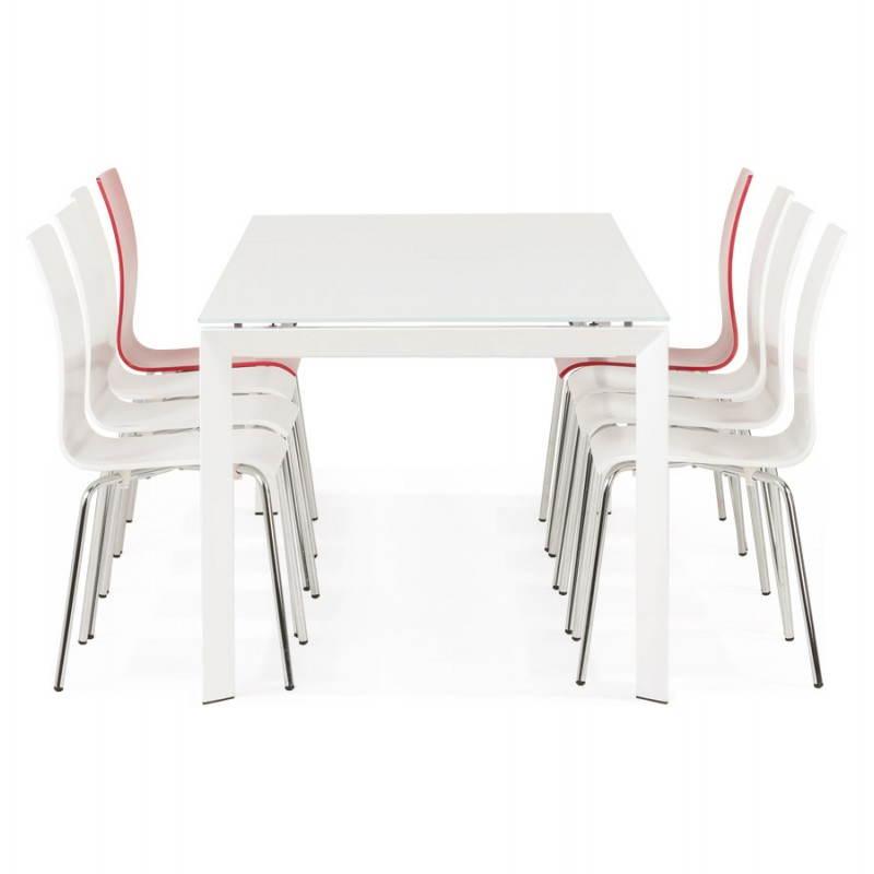 Table design rectangulaire avec rallonge JEANNE en verre et métal (160/230cmX90cmX75cm) (blanc) - image 21409