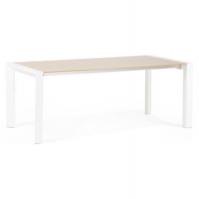 table design avec rallonges solo en plaqu ch ne et m tal 190 270cmx95cmx74cm bois naturel. Black Bedroom Furniture Sets. Home Design Ideas