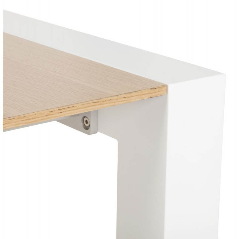 Rectangular design table with extensions SOLO veneered oak and metal (natural wood) - image 21421