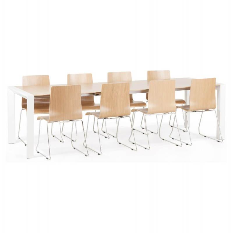 Table design avec rallonges SOLO en plaqué ch u00eane et métal (190 270cmX95cmX74cm) (bois naturel) # Table Bois Et Metal Avec Rallonge