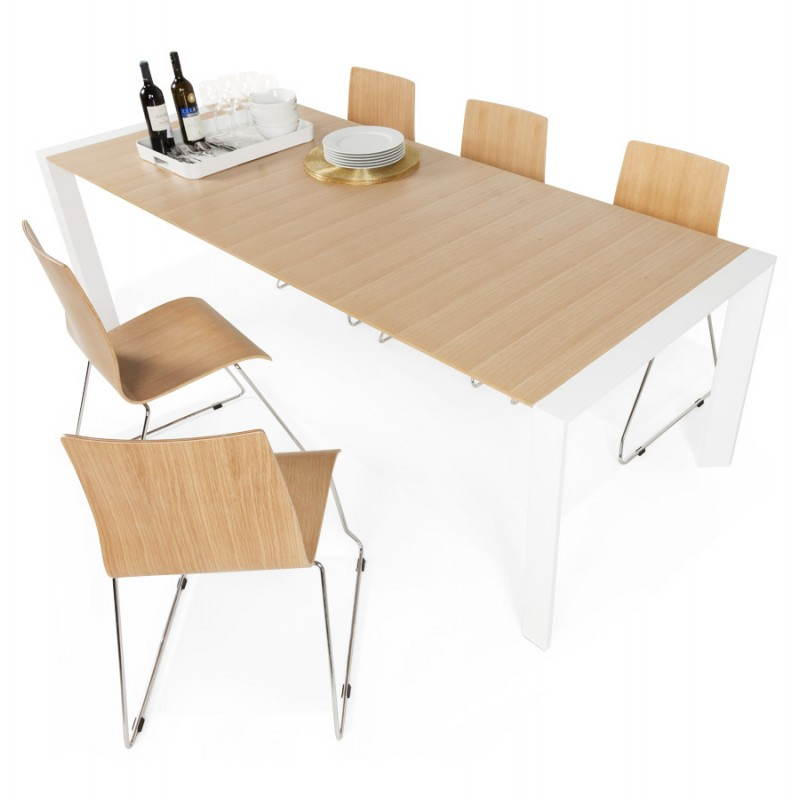 Rectangular design table with extensions SOLO veneered oak and metal (natural wood) - image 21435
