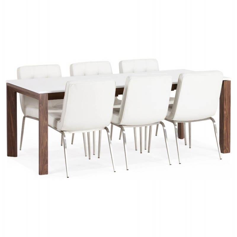 Table design rectangulaire avec rallonge LOULOU en bois (150/200cmX90cmX75cm) (blanc) - image 21452