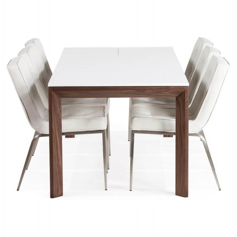 Table design rectangulaire avec rallonge LOULOU en bois (150/200cmX90cmX75cm) (blanc) - image 21454