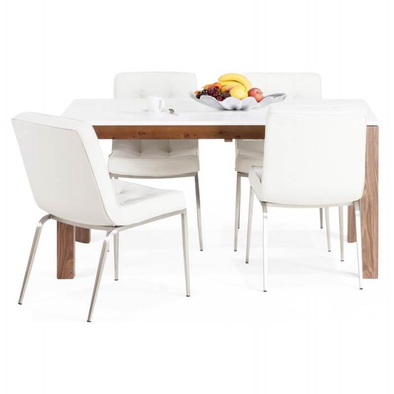 Table design rectangulaire avec rallonge LOULOU en bois (150/200cmX90cmX75cm) (blanc) - image 21455