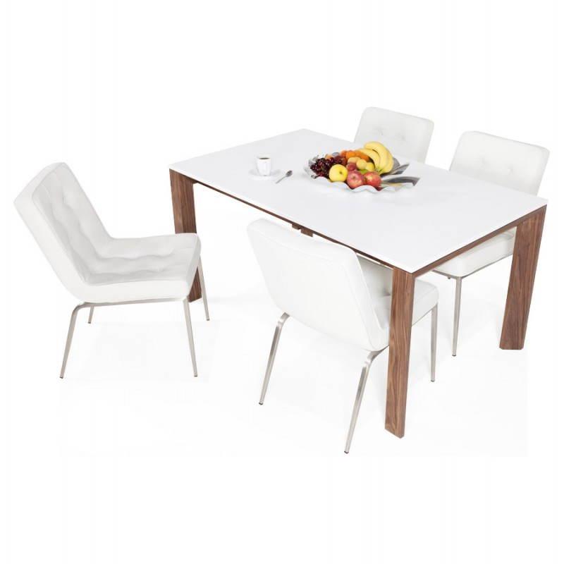 Table design rectangulaire avec rallonge LOULOU en bois (150/200cmX90cmX75cm) (blanc) - image 21456