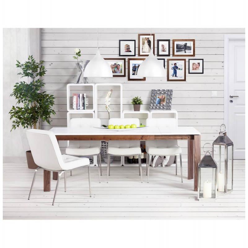 Table design rectangulaire avec rallonge LOULOU en bois (150/200cmX90cmX75cm) (blanc) - image 21457