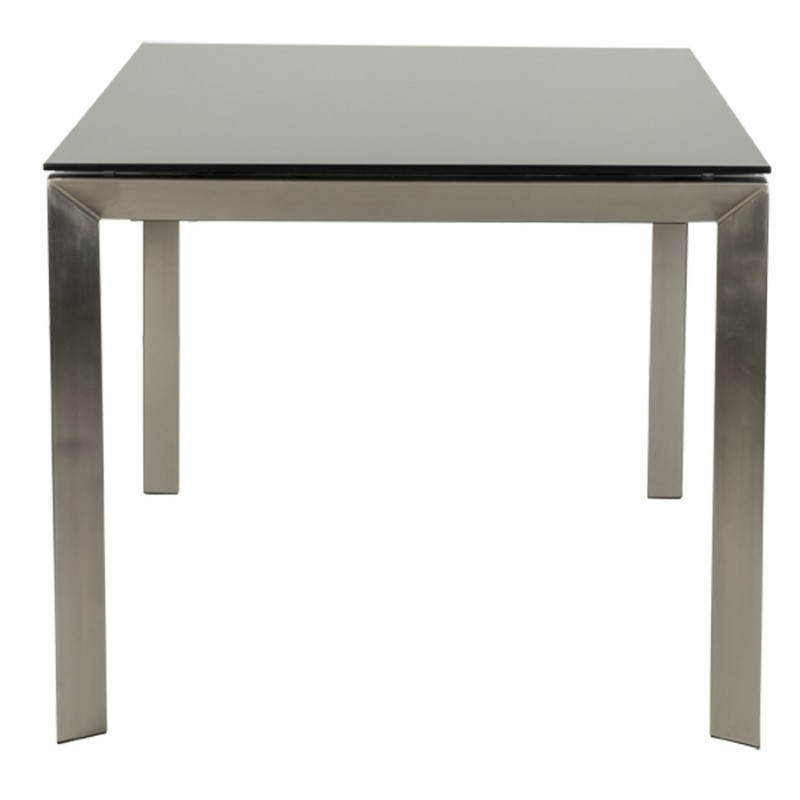 Table design rectangulaire avec rallonge mona en verre tremp et inox noir - Table rallonge design ...