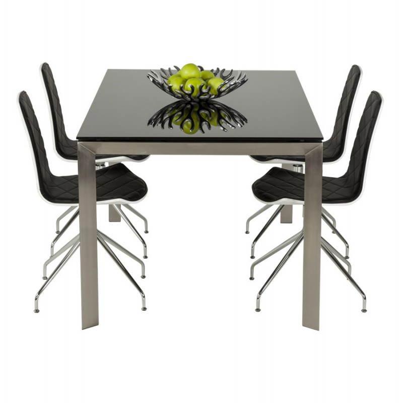 Table design rectangulaire avec rallonge MONA en verre trempé et inox (160/230cmX90cmX74cm) (noir) - image 21510