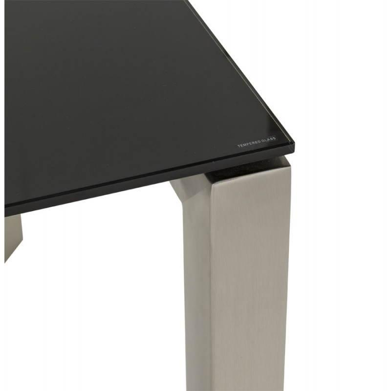Table design rectangulaire avec rallonge MONA en verre trempé et inox (160/230cmX90cmX74cm) (noir) - image 21515