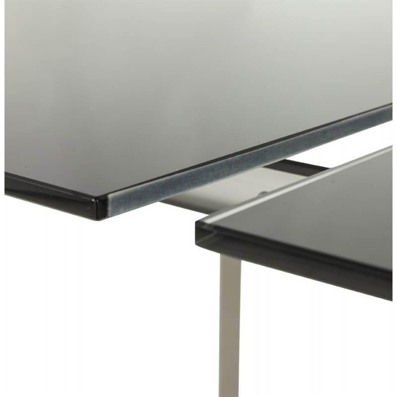 Table design rectangulaire avec rallonge MONA en verre trempé et inox (160/230cmX90cmX74cm) (noir) - image 21516