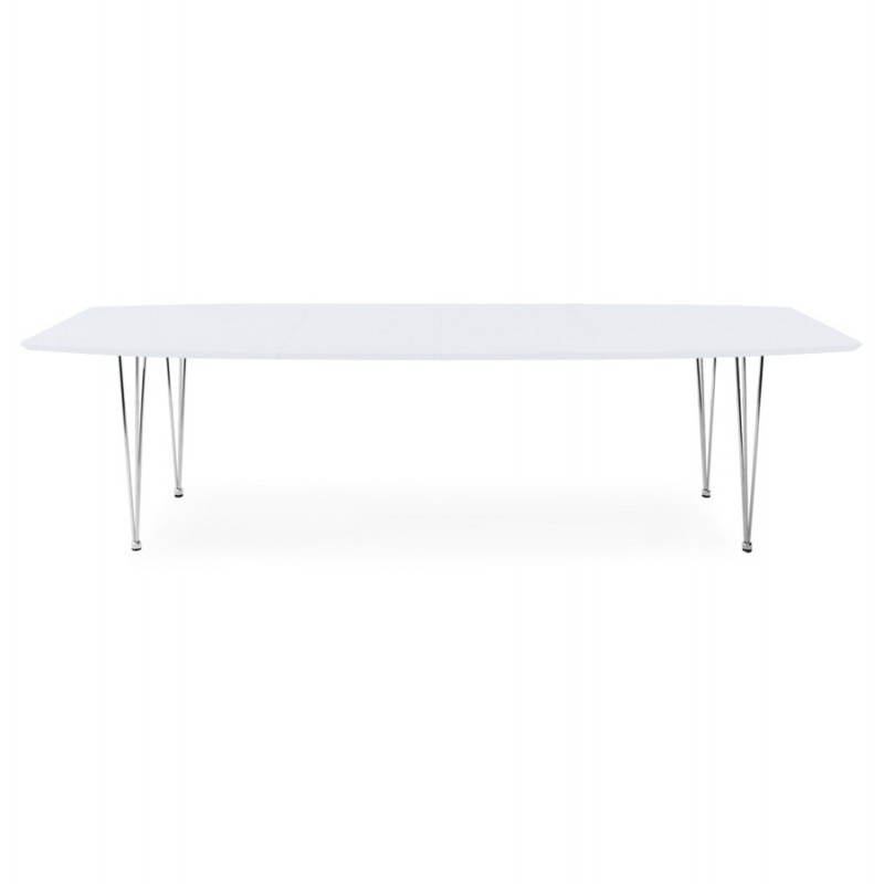 Rectangular design table with extensions LOANA in wood and chrome metal (white) - image 21521