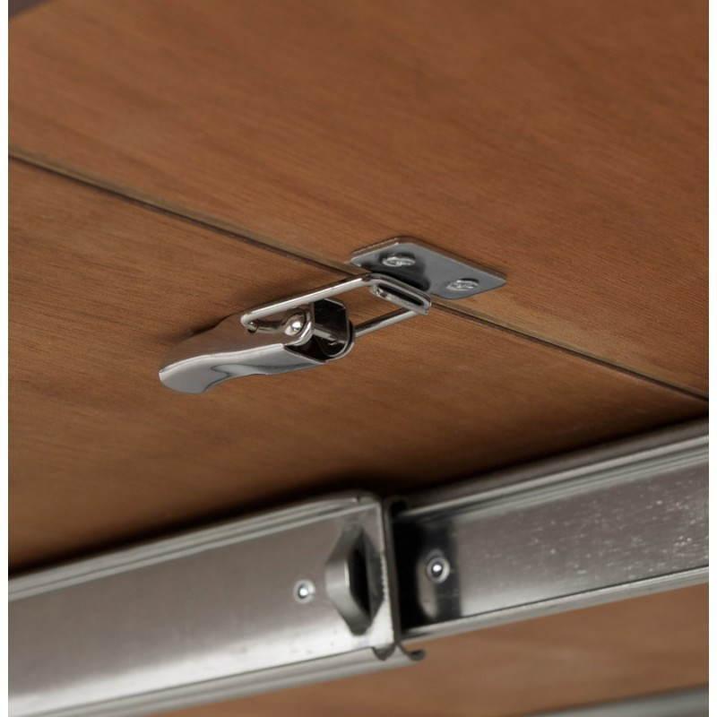 Table design avec rallonges RINBO en plaqué noyer et acier chromé (170/270cmX100cmX74cm) (noyer) - image 21551