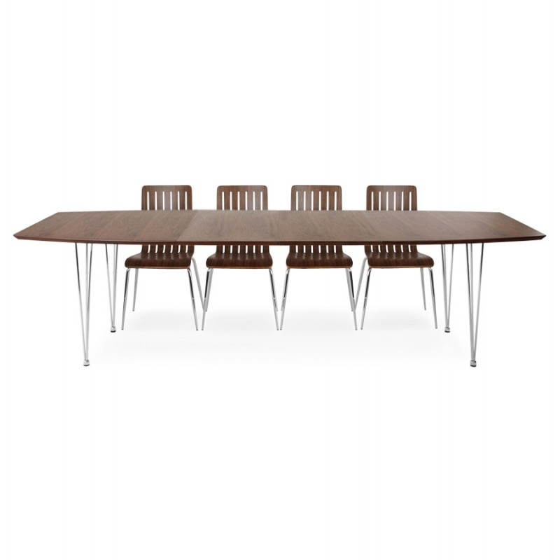 Table design avec rallonges RINBO en plaqué noyer et acier chromé (170/270cmX100cmX74cm) (noyer) - image 21557