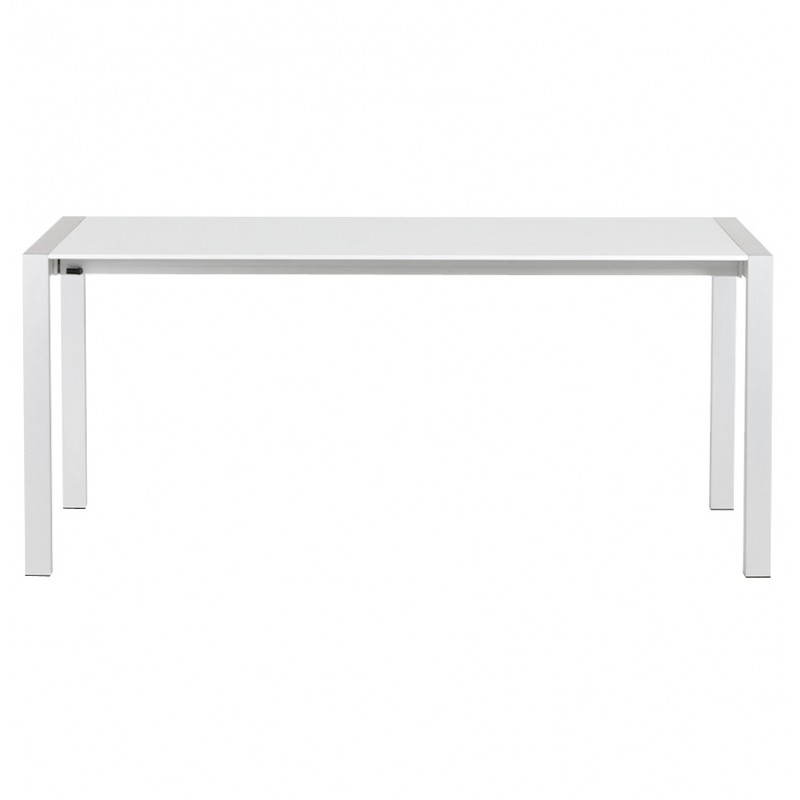 Rectangular design table with extension cords heavy in lacquered wood and brushed aluminum (white) - image 21560