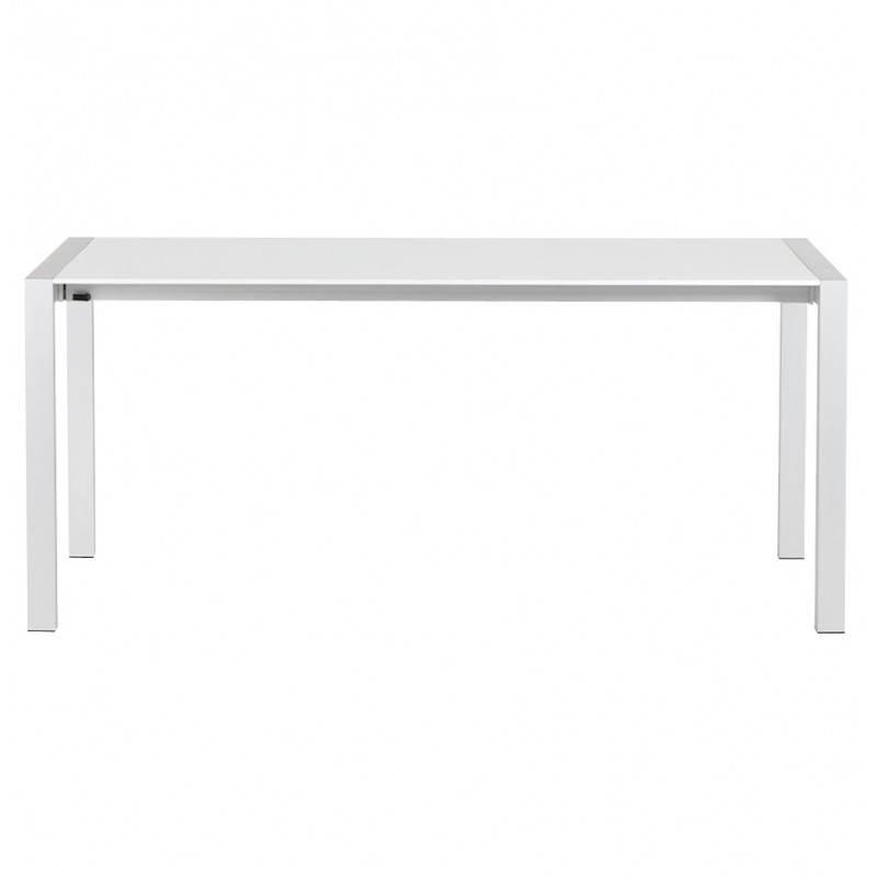 Table design rectangulaire avec rallonges LOURDE en bois laqué et aluminium brossé (blanc) - image 21560