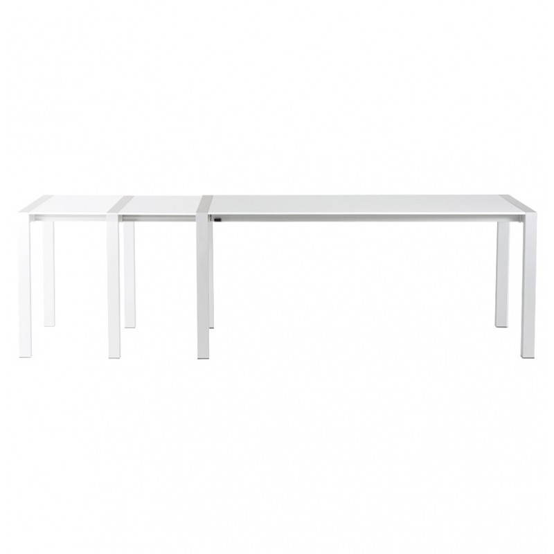 Rectangular design table with extension cords heavy in lacquered wood and brushed aluminum (white) - image 21562