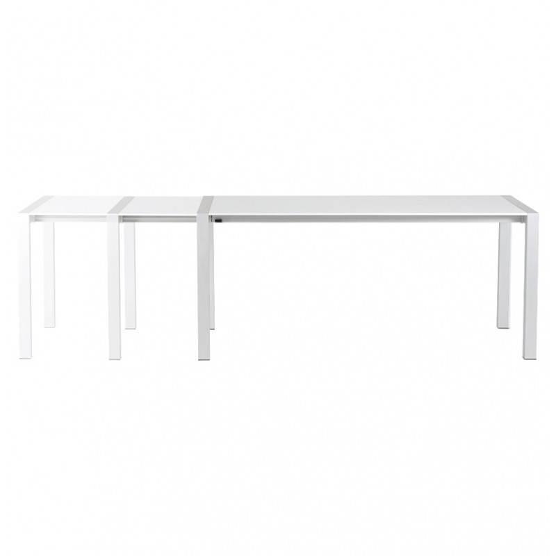Table design rectangulaire avec rallonges LOURDE en bois laqué et aluminium brossé (blanc) - image 21562
