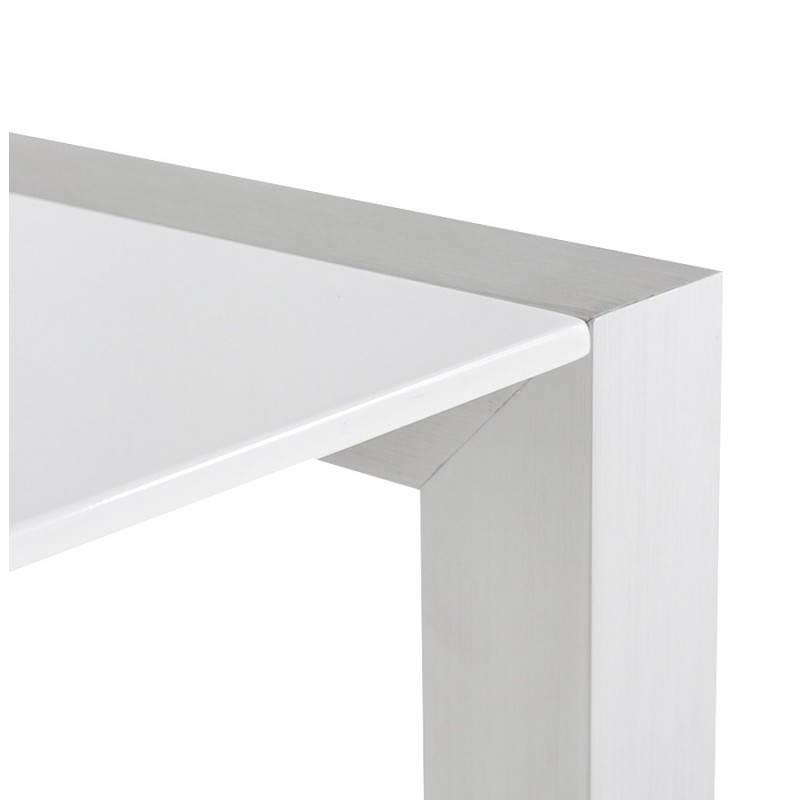 Table design rectangulaire avec rallonges LOURDE en bois laqué et aluminium brossé (blanc) - image 21566