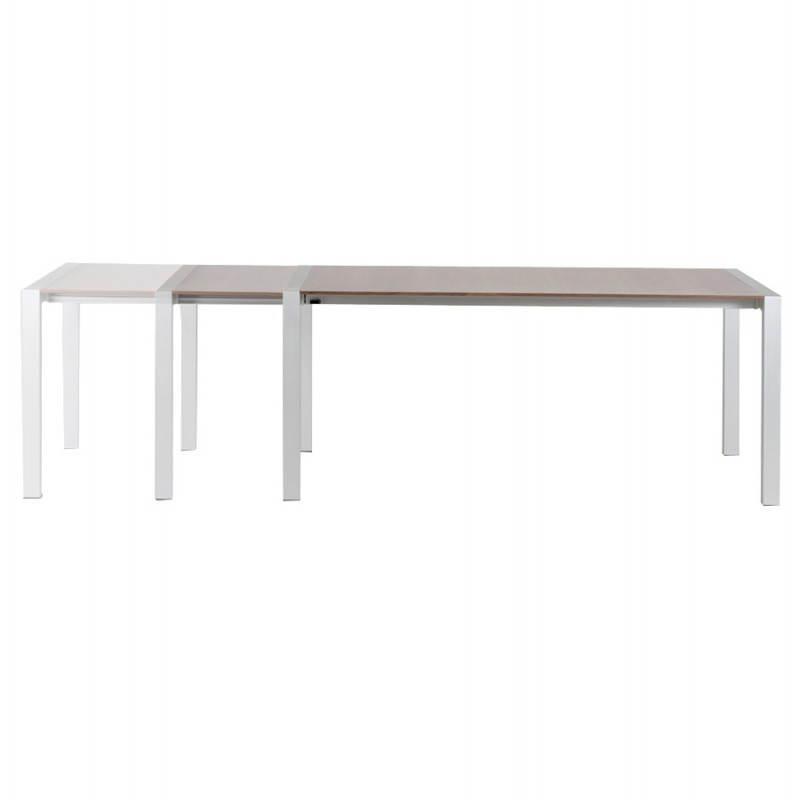 Table design avec rallonges LOURDE en plaqué noyer et aluminium brossé (170/260cmX90cmX74cm) (noyer) - image 21577