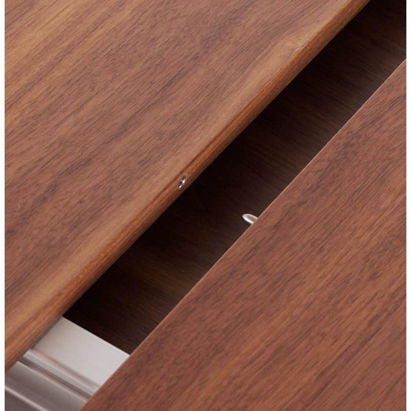 Table design avec rallonges LOURDE en plaqué noyer et aluminium brossé (170/260cmX90cmX74cm) (noyer) - image 21579
