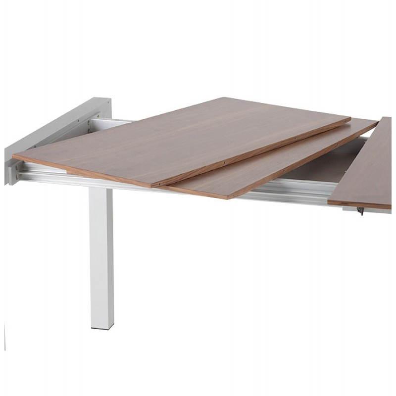 Table design avec rallonges LOURDE en plaqué noyer et aluminium brossé (170/260cmX90cmX74cm) (noyer) - image 21580