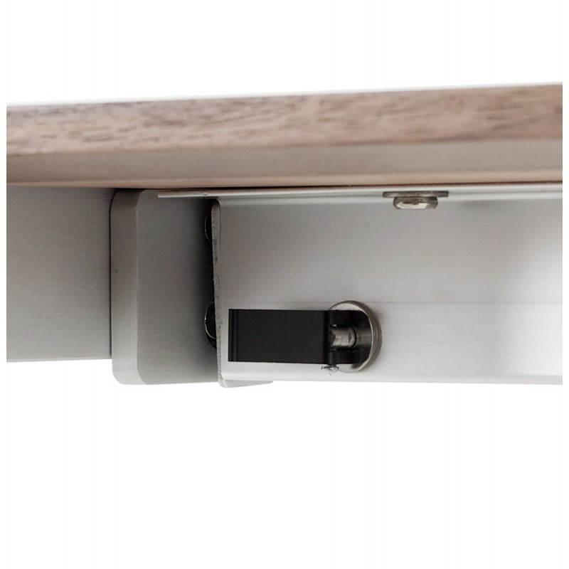 Table design avec rallonges LOURDE en plaqué noyer et aluminium brossé (170/260cmX90cmX74cm) (noyer) - image 21582
