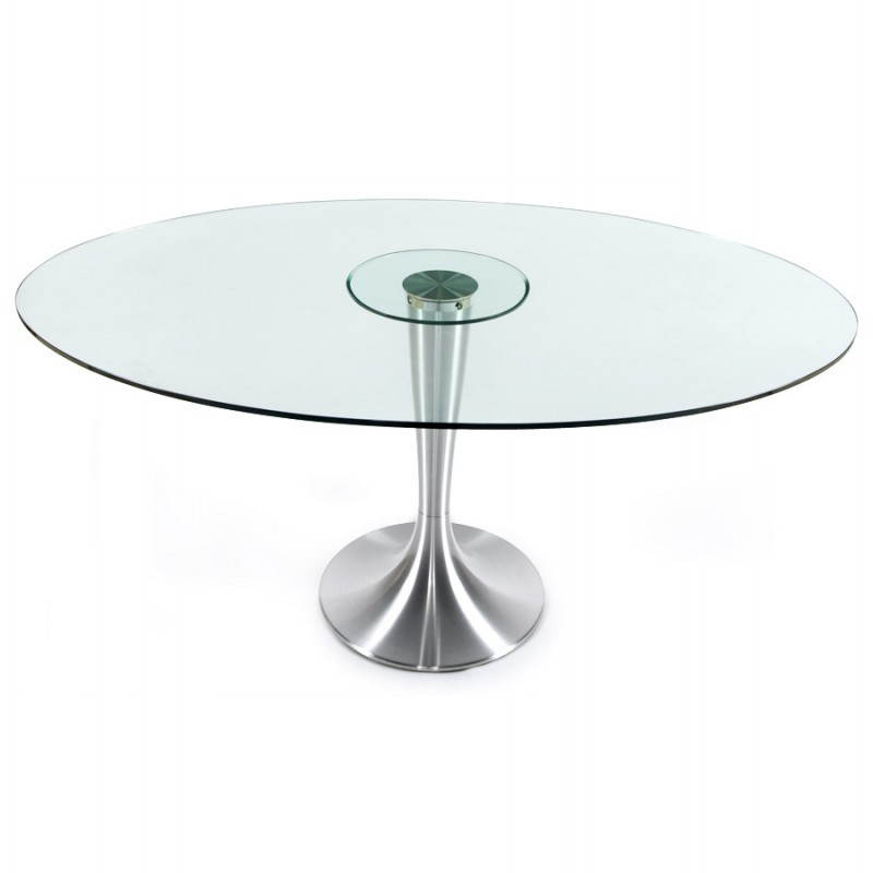 Table design ronde loupe en verre tremp et aluminium bross 160 cm tran - Table ronde en verre trempe ...