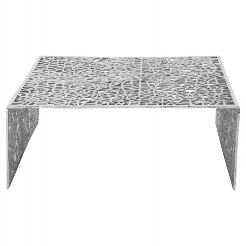 Table basse de salon carr e lady en aluminium for Table basse carree