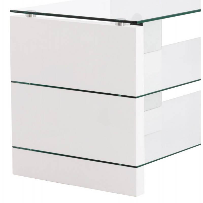meuble tv ouvea en bois laqu et verre blanc. Black Bedroom Furniture Sets. Home Design Ideas