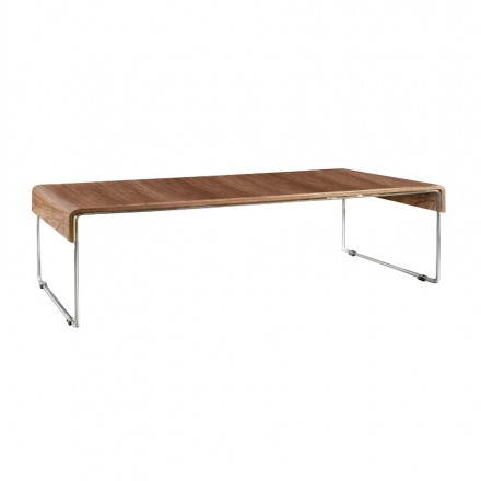 Table low rectangular MARTHE veneered Walnut (Walnut)