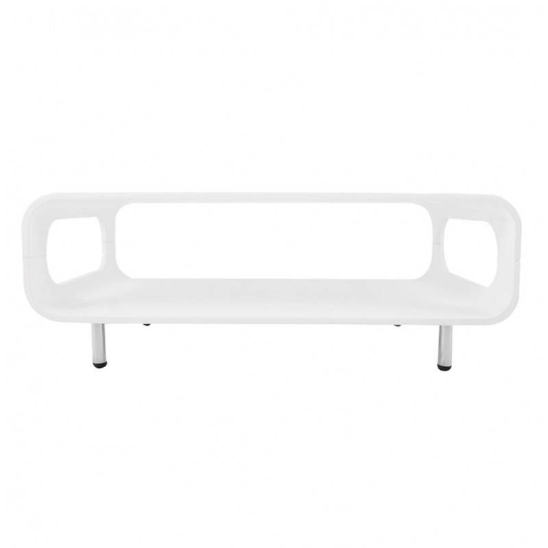 white lacquered wooden rectangular coffee table lomme. Black Bedroom Furniture Sets. Home Design Ideas