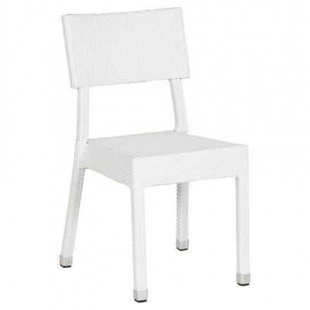 Chaise design tressée NEPAL en polymère (blanc)