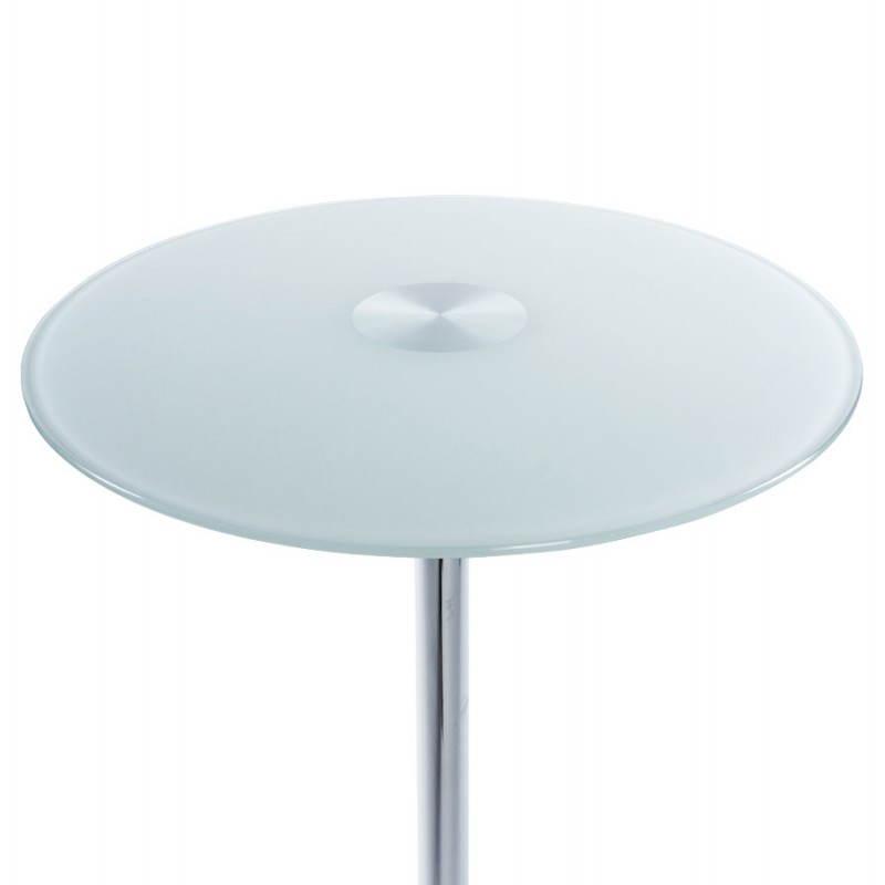 Table haute d'appoint BARY en verre et métal chromé (Ø 65 cm) (blanc) - image 22070