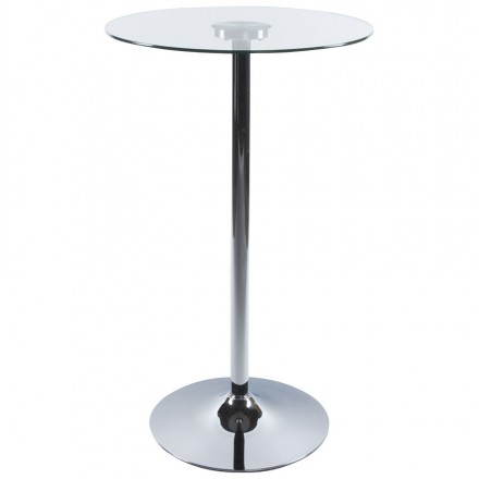 High side BARY (transparent) chrome-plated metal and glass table (Ø 65 cm)