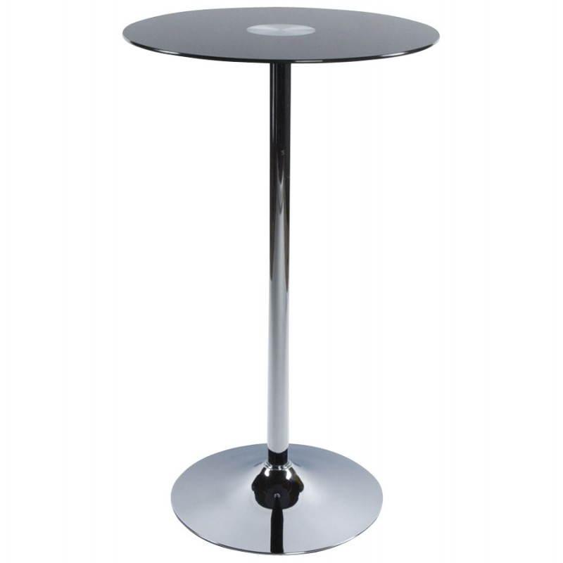 Table haute d'appoint BARY en verre et métal chromé (Ø 65 cm) (noir) - image 22079