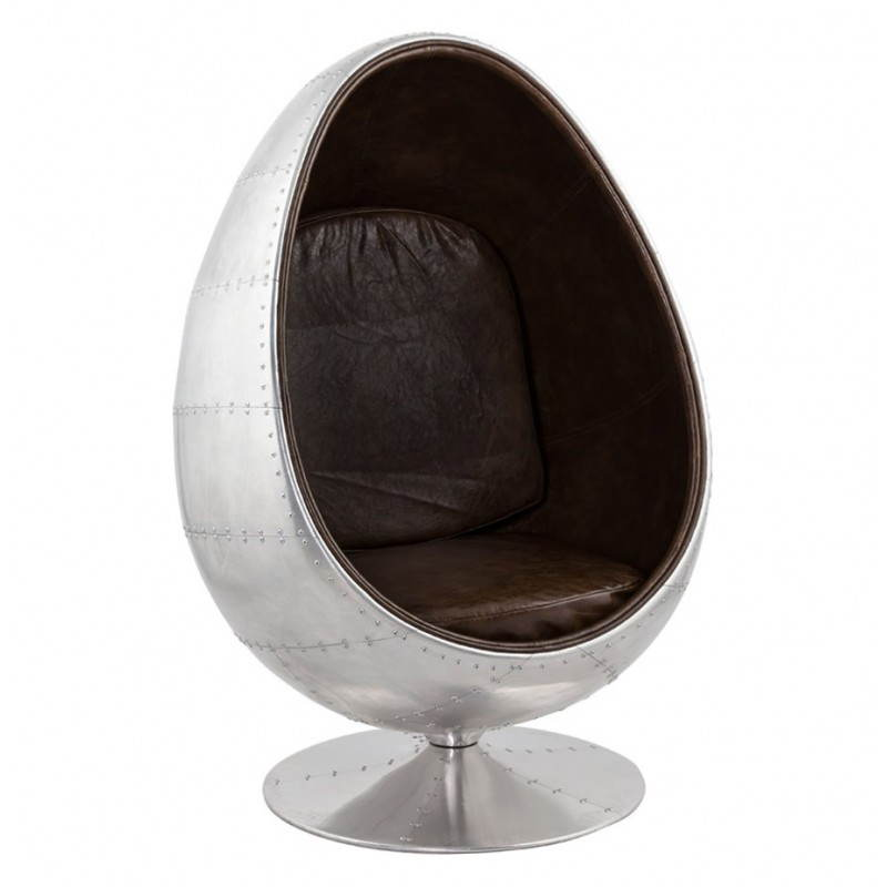 Design swivel armchair OVALO (aluminum and brown) - image 22120