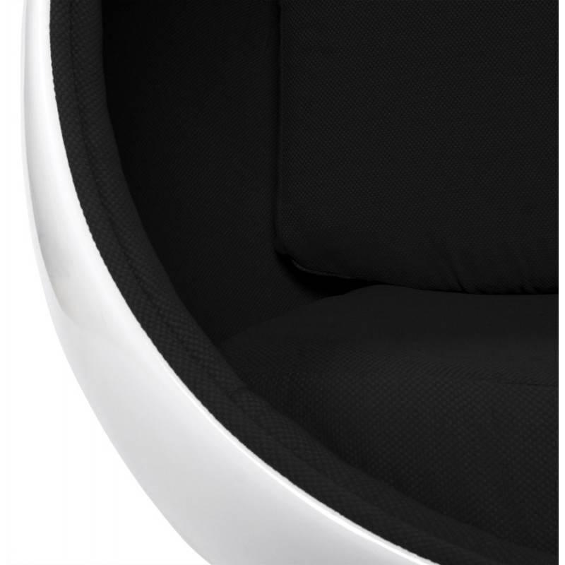 Fauteuil design OVALO en polymère et tissu (blanc et noir) - image 22155