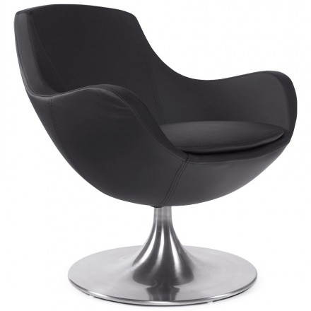 Design armchair contemporary love in synthetic and brushed aluminum (black)