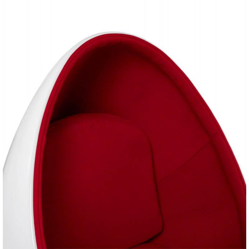Sedia design OVALO in polimero e tessuto (bianco e rosso) - image 22215