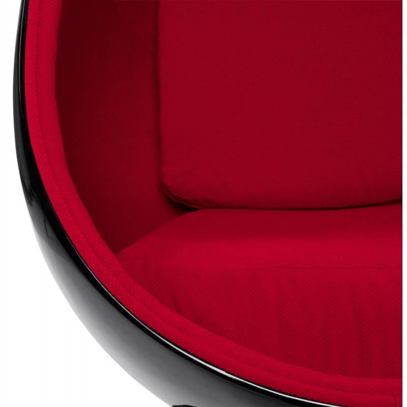 Fauteuil design OVALO en polymère et tissu (noir et rouge) - image 22222