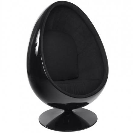 OVALO design chair in polymer (black) fabric