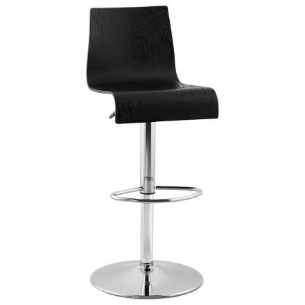 Design bar in wood and chrome-plated metal stool. (Black) wood FOURS