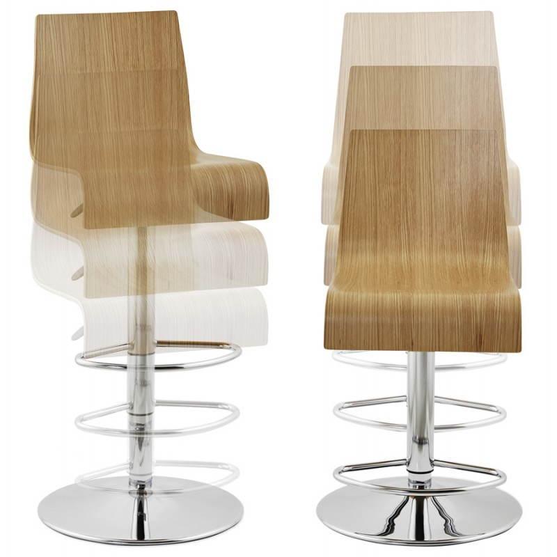 Tabouret de bar design FOURS en bois (naturel) - image 22307
