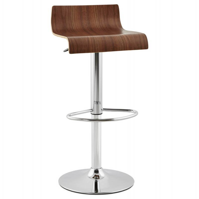 Tabouret de bar design ROME en bois (walnut)