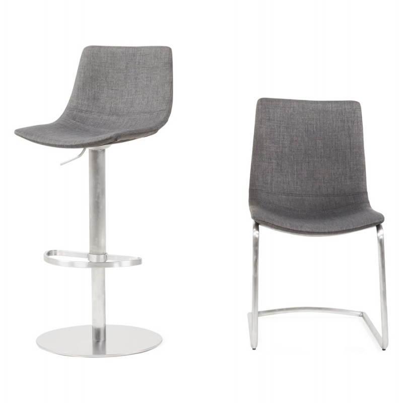 Tabouret de bar design BOLOGNE en textile (gris) - image 22427