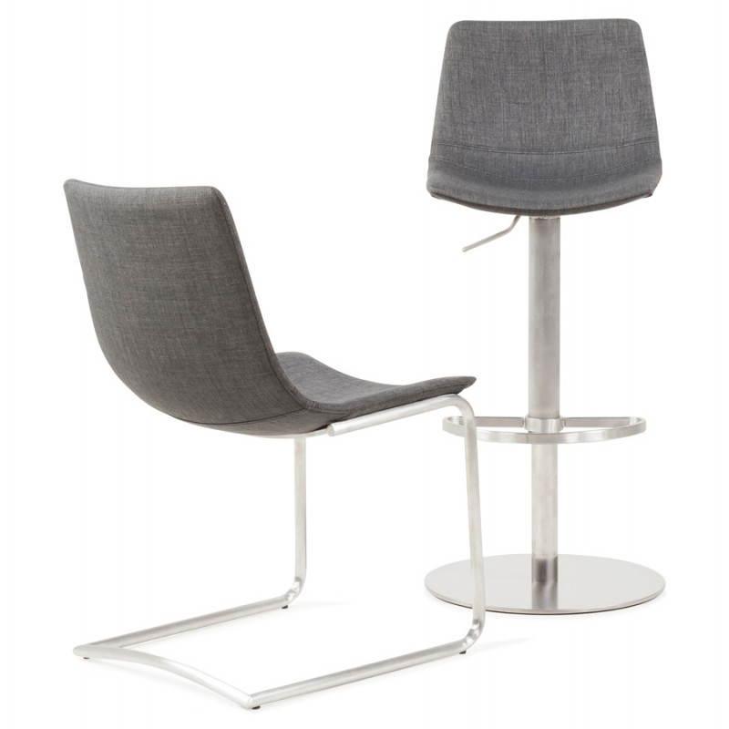 Tabouret de bar design BOLOGNE en textile (gris) - image 22429