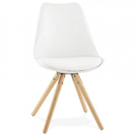 Chaise moderne style scandinave NORDICA (blanc)