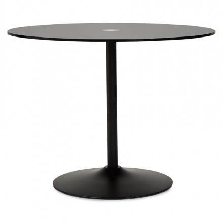 Diseño de Milano de la mesa redonda de vidrio y metal (Ø 100 cm) (negro)