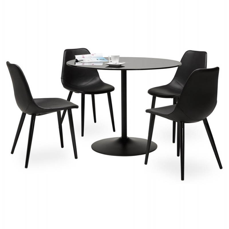 Design roundtable milan glass and metal 100 cm black - Table en verre ronde ikea ...