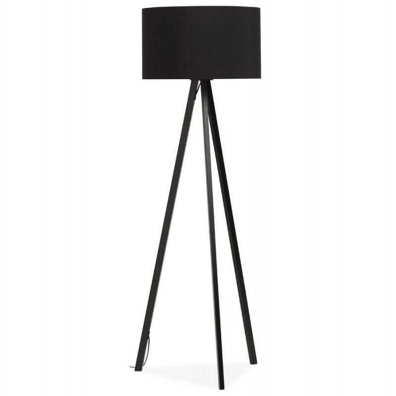 lampe sur pied de style scandinave trani en tissu noir. Black Bedroom Furniture Sets. Home Design Ideas